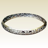 Vintage Delicate Sterling Silver Filigree Bangle Bracelet