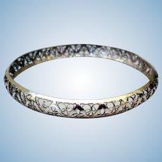 Vintage Delicate Sterling Silver Filigree Bangle Bracelet