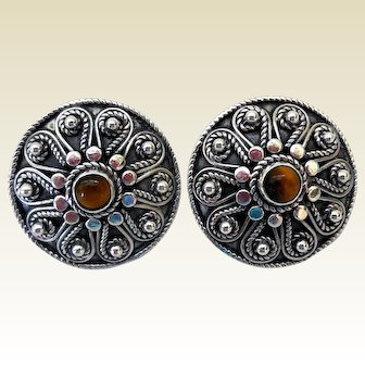 Vintage Sterling Silver Etruscan Revival Earrings, with Tiger Eye