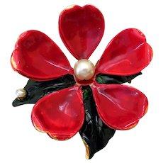 Original by Robert Vintage Red Flower Brooch