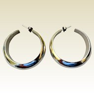 Vintage Sterling Silver Hoop Earrings, Mexico