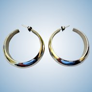 Vintage Sterling Silver Hoop Earrings, Mexico