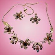 Vintage Van Dell Necklace & Earrings, 12K GF, Original Box