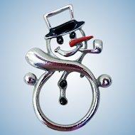 Happy Holiday Snowman Pin, Vintage