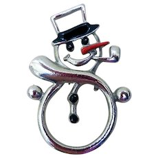 Happy Holiday Snowman Pin, Vintage