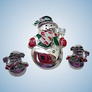 Holiday Snowman Pin and Earrings, Vintage