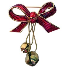 Vintage Holiday Brooch, Bow with Jingle Bells