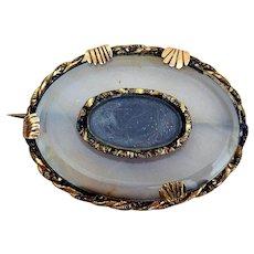 Georgian/Victorian Banded Agate Hair Brooch, Rare