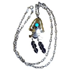 Vintage Southwestern Arrow & Feathers Pendant Necklace