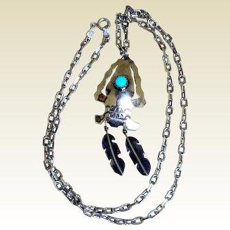 Vintage Southwestern Arrow & Feathers Pendant Necklace