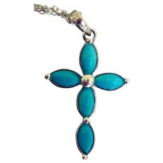 Vintage Sterling Silver and Turquoise Cross Necklace