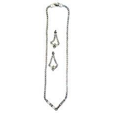 Mid-Century Rhinestone Necklace & Earrings