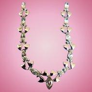 Engel Bros. Vintage Sterling Silver & Rhinestone Necklace