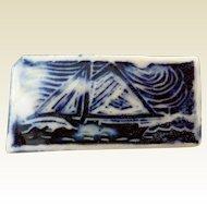 "Vintage Ceramic Sailboat Pin, ""The Freedom"""