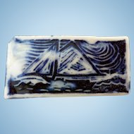"Vintage Ceramic Sailboat Pin, ""The Freedom"""