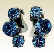 Vintage Blue Rhinestone Earrings, Signed La Rel