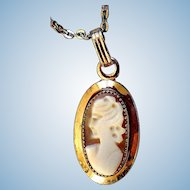 Vintage Cameo Necklace, Gold-Filled