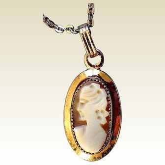 Vintage Cameo Necklace, Gold-Filled