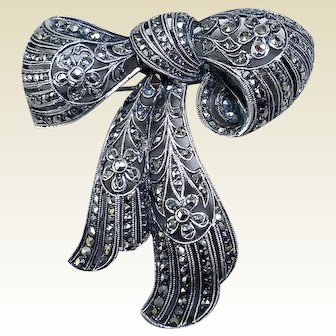 Sterling Silver and Marcasite Brooch, Art Nouveau