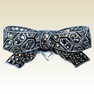 Sterling Silver & Marcasite Dress Clip
