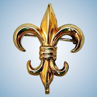 Early Gold-Filled Fleur de Lis Watch Pin