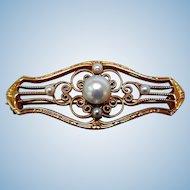 Antique 14K Gold, Natural Pearls Brooch, Ca 1900