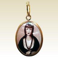19.2K Gold Pendant, Porcelain, 14K Chain, Sta. Joana, Princeza