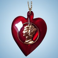 Red Lucite Heart Pendant with Gold-Filled Mercury Dime