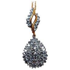 Vintage 10K Gold, Pave Diamond Pendant Necklace