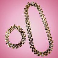 Gold-Tone Link Necklace & Bracelet, Ca 1970s