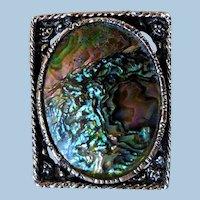 Fabulous Mid-Century Abalone Shell Brooch