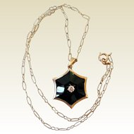 Antique 14K Gold, Onyx, & Diamond Necklace
