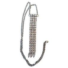 Vintage Sterling Silver & Crystal Necklace, Pure Glitz!