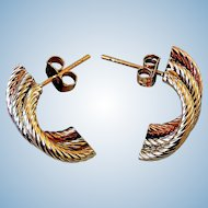 Vintage Tri-Color Gold, 14K Earrings