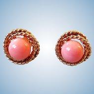 Vintage 14K Gold & Angel Skin Coral Earrings