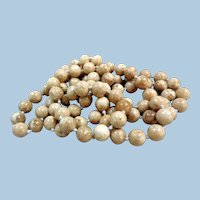 Vintage Necklace of Soft Beige Agate Beads