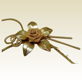 Vintage Mid-Century Mesh Rose Slide Necklace