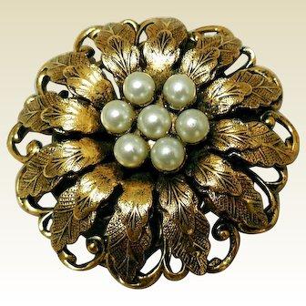 Beautiful Blossom & Faux Pearls Mid-Century Brooch