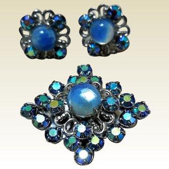 Retro Earrings & Brooch, Aurora Borealis & Lucite