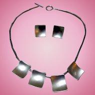 Vintage Sterling Silver Modernist Necklace & Earrings