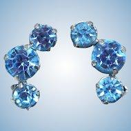 Vintage Blue Rhinestone Earrings by La Rel