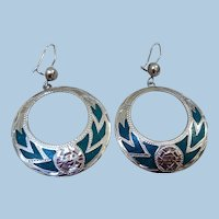 Traditional Sterling Silver & Turquoise Earrings, Mexico