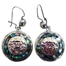 Sterling Silver & Abalone Earrings, Signed, Mexico