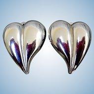 Sterling Silver Big Heart Earrings