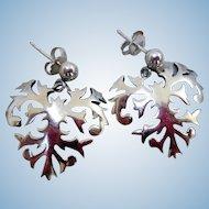 Sterling Silver, Delicate Heart Earrings by J. Rogers