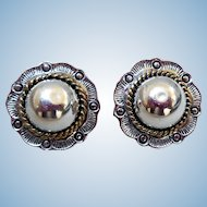 Vintage Sterling Silver Earrings, Signed, Mexico