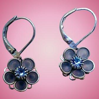 Vintage Camphor Glass & Rhinestone Earrings