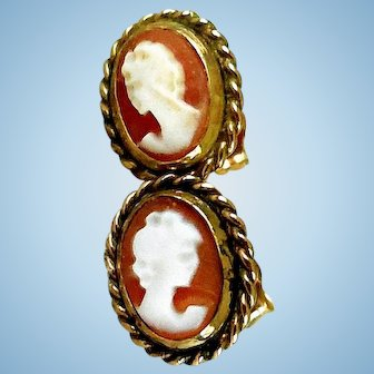 Vintage Cameo Earrings, in 14K Yellow Gold