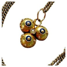 Mid-Victorian Etruscan Revival Necklace, 14K Gold, Enamel, Seed Pearls