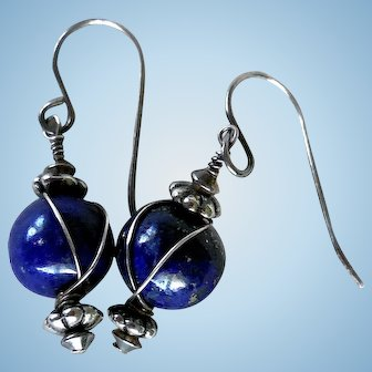 Vintage Lapis Lazuli & Sterling Silver Earrings
